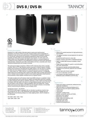 DVS 8 / DVS 8t - Canford Audio