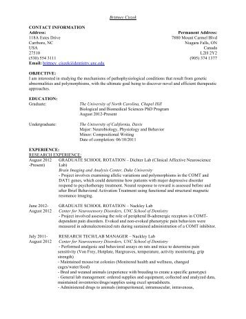 Curriculum Vitae - UNC School of Dentistry