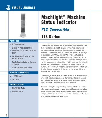 Machlight® Machine Status Indicator 113 Series PLC ... - OkSolar.com