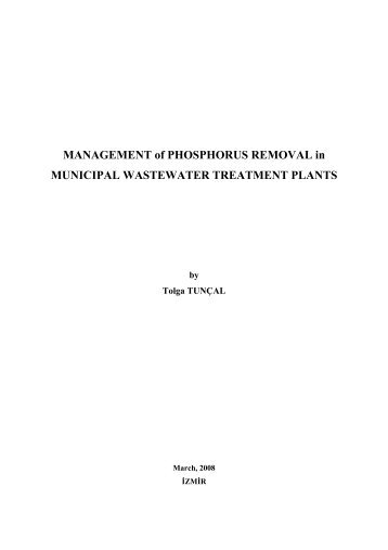MANAGEMENT of PHOSPHORUS REMOVAL in MUNICIPAL ...