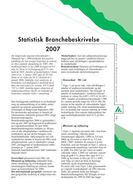 Statistisk Branchebeskrivelse 2007 - Foreningen af Rådgivende ...