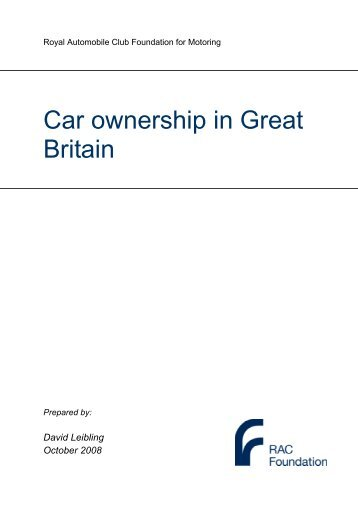 Car ownership in Great Britain - RAC Foundation