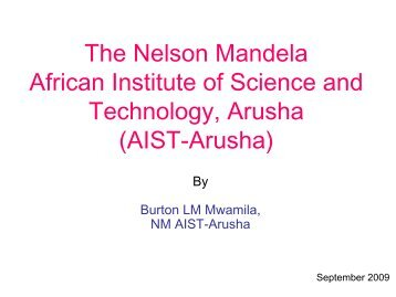 The Nelson Mandela African Institute of Science and Technology ...