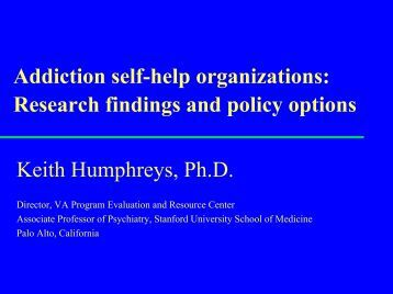 Addiction self-help organizations: Research findings and policy ...