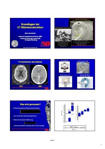 Grundlagen der Bildrekonstruktion - Instituts für Medizinische Physik