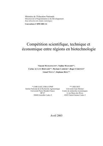 La caractérisation des profils scientifiques ... - UMR-GAEL - Inra