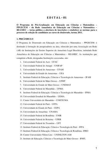E D I T A L – 01 - ascom - Universidade Federal do Pará