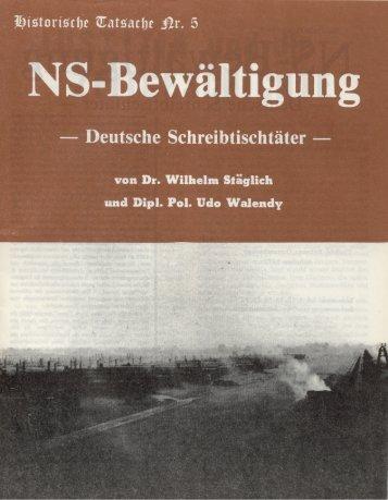 Historische Tatsachen - Nr. 05 - Udo Walendy und Wilhelm Staeglich