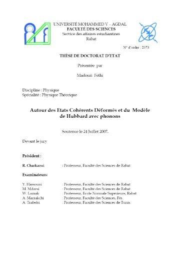 Annexe IV Modèle de Hubbard standard et états cohérents - Toubkal