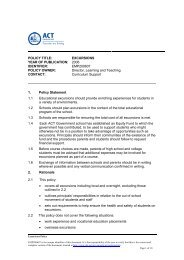 Excursions Policy - Education and Training Directorate - ACT ...