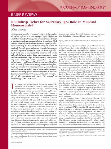 Brief reviews - The Journal of Immunology - Service d'immunologie ...