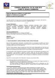 conseil municipal du 28 juin 2010 compte rendu ... - Ville de Chenôve
