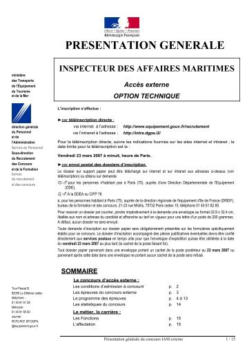 CONTROLEUR DES AFFAIRES MARITIMES - Ministère Equipement