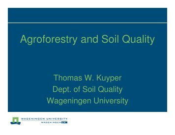 Agroforestry and Soil Quality - SPLU.nl
