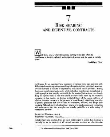 risk sharing and incentive contracts - Law & Economics Center