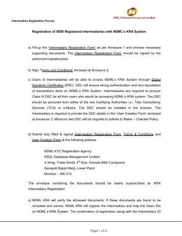 Intermediary Registration Process - NSDL