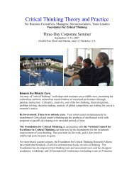 Critical Thinking Theory and Practice - The Critical Thinking ...
