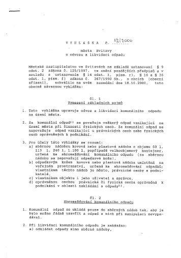 VYHL Á Š KA č. města: Svitavy o odvozu a likvidaci odpadu Městské ...