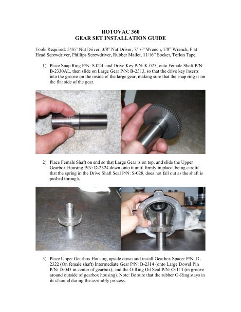 rotovac 360 gear set installation guide - Carpet Cleaning Equipment