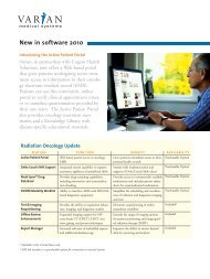 New in software 2010 - Varian
