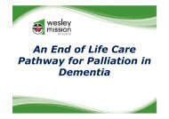 An End of Life Care Pathway for Palliation in Dementia