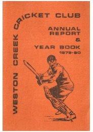 REPORT - Weston Creek Cricket Club