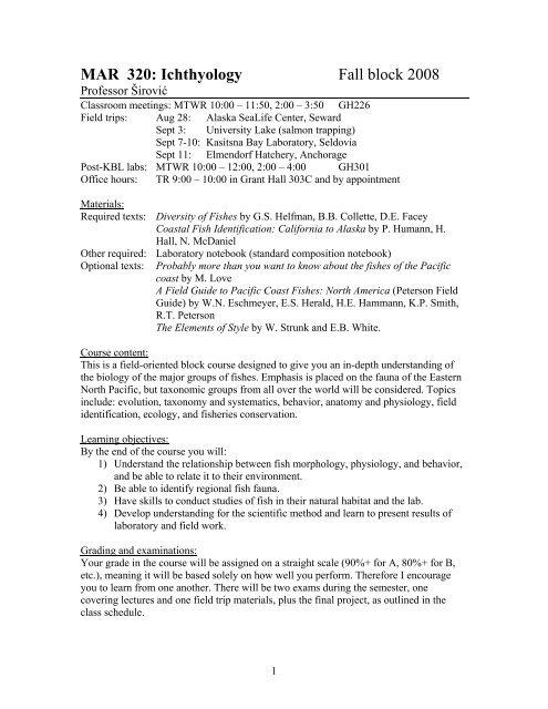 Example Syllabus ( PDF) - MARINE BIOLOGY at Alaska Pacific
