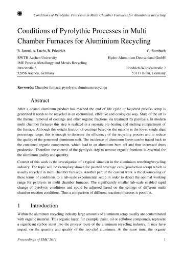 Conditions of Pyrolythic Processes in Multi Chamber Furnaces for ...