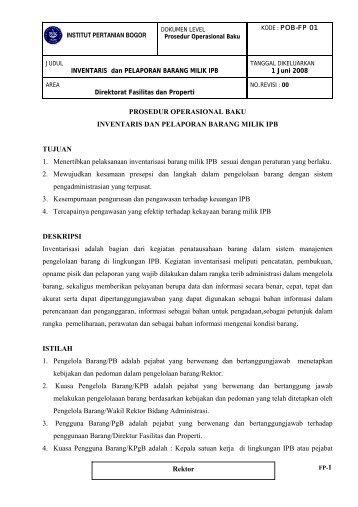 SOP Inventarisasi & Pelaporan Barang Milik IPB