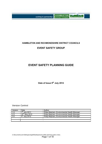 EVENT SAFETY PLANNING GUIDE - Hambleton District Council