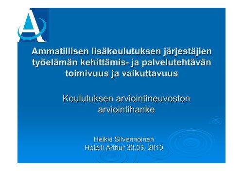 Työelämän kehittämis- ja palvelutehtävän arviointi - Opetusministeriö