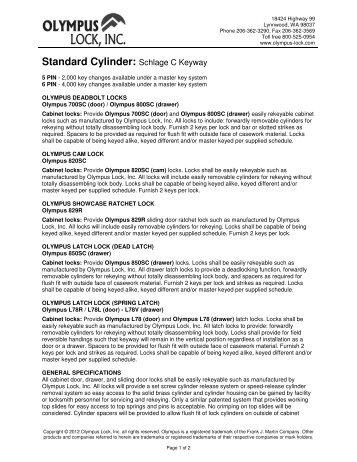 Standard Cylinder: Schlage C Keyway - Olympus Lock