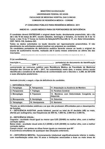 Anexo III - Laudo Médico - Centro de Seleção da UFG
