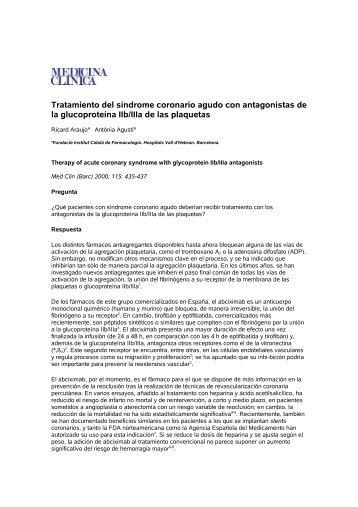 Tratamiento del síndrome coronario agudo con antagonistas de la ...