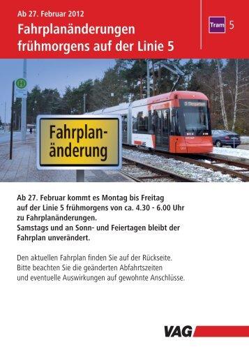 Fahrplanänderungen frühmorgens auf der Linie 5 - VAG