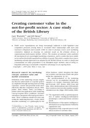 Creating customer value in the not-for-profit sector: a case study of ...