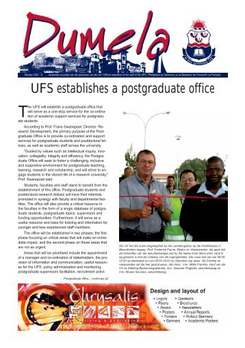 UFS establishes a postgraduate office - University of the Free State