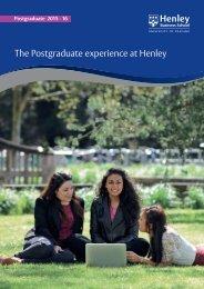 Download our Postgraduate Brochure - Henley Business School