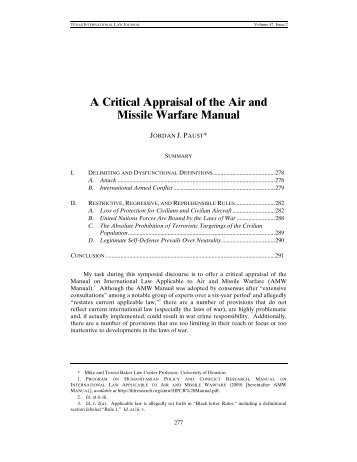 A Critical Appraisal of the Air and Missile Warfare Manual