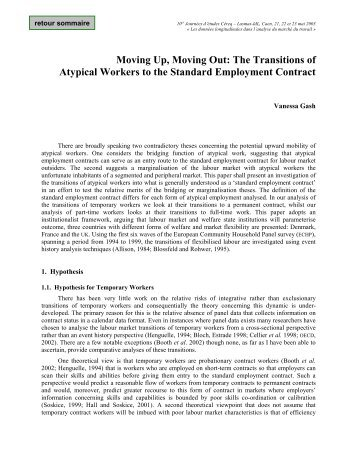 Moving Up, Moving Out: The Transitions of Atypical Workers to the ...