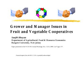 Grower and Manager Issues in Fruit and Vegetable Cooperatives