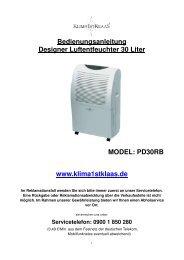 Bedienungsanleitung PD30 - Klaas Direktimport GmbH