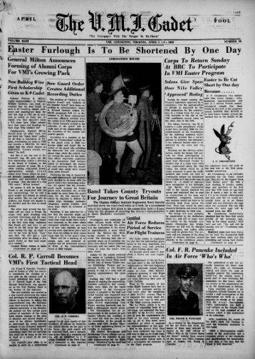 The Cadet. VMI Newspaper. April 01, 1953 - New Page 1 [www2.vmi ...