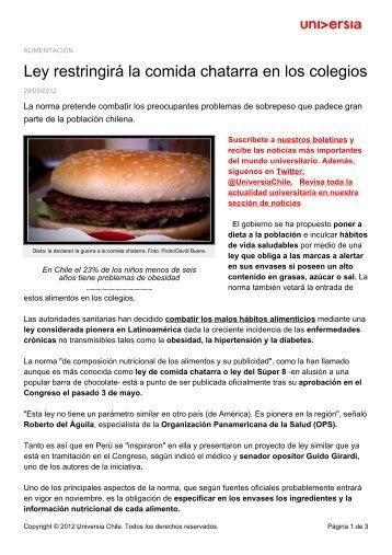 Ley restringirá la comida chatarra en los colegios - Noticias - Universia
