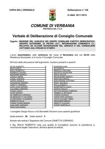 126 - mozione del 24/06/2010 dei gruppi consiliari partito ...