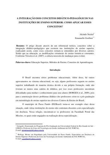 a integração dos conceitos didático-pedagógicos nas instituições de ...