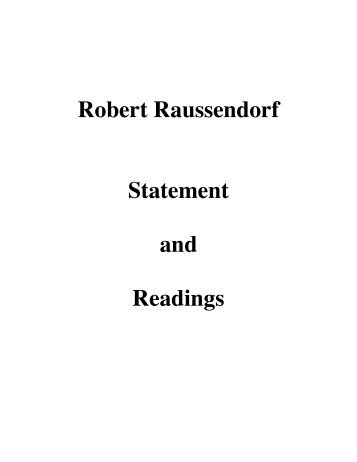 Robert Raussendorf Statement and Readings - Pacific Institute of ...