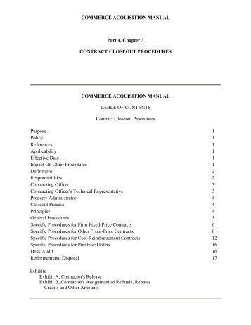 COMMERCE ACQUISITION MANUAL Part 4, Chapter 3 CONTRACT ...