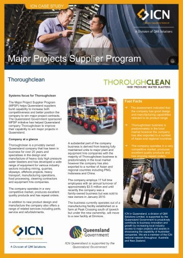 Major Projects Supplier Program