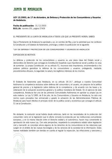 LEY 13/2003, de 17 de diciembre, de Defensa y Protección de los ...
